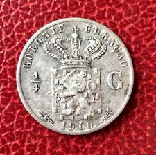 CURACAO - Colonie Néerlandaise - Rare monnaie de 1/4 Gulden 1900 en Argent