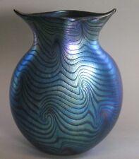 Superb & Huge VINTAGE BOHEMIAN Art Nouveau Iridized Glass Vase    King Tut +