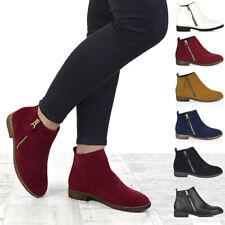 Womens Chelsea Block Heel Riding Biker Metal Zip Ladies Flat Ankle Boots Size