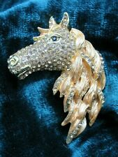 LARGE Horse Head Brooch pin Black and silver Gold War stallion Crystal Enamel
