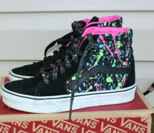 Vans Off the Wall Girl Neon Paint Splatter high top Tennis Shoes Sz: 4