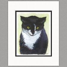 Tuxedo Cat Original Art Print 8x10 Matted to 11x14