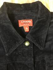 Womens NWT Chaps Denim XL Corduroy Jacket Button Up Black Sz XL MSRP $79.50