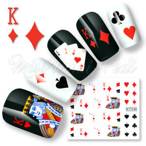 Nail Art Water Decals Stickers Transfers Playing Cards Deck Casino Poker K173