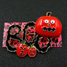 Pumpkin Leaf Woman Brooch Pin Betsey Johnson Beautiful Red Shiny Enamel