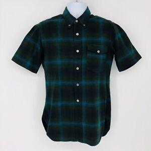 Vintage Pendleton Green Plaid Wool Short Sleeve Button Down Shirt Size Medium