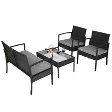 4 PCS Patio Rattan Wicker Furniture Set Loveseat Sofa Cushioned Garden Yard USA