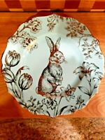 "4 Bunny Hill by 222 Fifth Salad Dessert Plate Turquoise Gold Easter Bunny 8.5"" D"