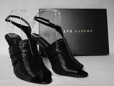 NEW RALPH LAUREN Ladies Black Patent Leather Strappy Sandals Shoes UK 6 EU 39