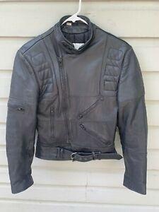 VTG 90s Wilsons Black Leather Armored Cafe Racer Motorcycle Biker Jacket Size 34