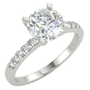 1.14 Ct Round Cut VS1/F Solitaire Pave Diamond Engagement Ring 14K White Gold