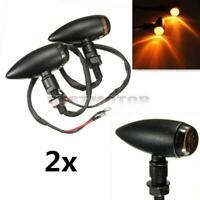 2x Motorcycle Bullet Turn Signal Light Amber Indicator Blinker For Harley