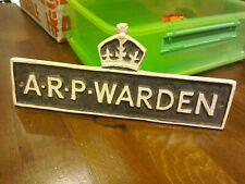 More details for arp warden - civil defence original metal sign - home front 1940's - free post