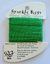 Rainbow Gallery Sparkle Rays SR28 Christmas Green 10 yd Needlepoint Cross Stitch