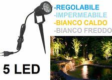 Faretto LED interno e esterno 5W.Casa,giardino,piante.Picchetto faro.Luce bianca