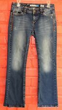 Aeropostale Hailey Skinny Flare Jeans 3/4 Short Stretch Curvy 30 x 29 Distressed