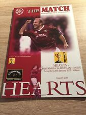 Hearts v Inverness Caledonian Thistle 2001/02