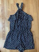 NEW Ann Taylor LOFT Black Grey White Floral Romper High Neck Tie Size XS Petite