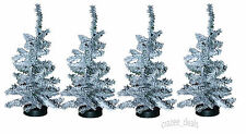 Lot Of 4 Canadian Pine 1 Foot Artificial Pine Christmas Trees Tabletop White