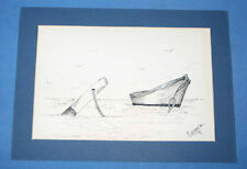 COUNCE Original Pen Ink Moored Boat Scene Illustration Drawing SIGNED FREE SHIP