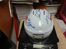 NY RANGERS AUTOGRAPHED MINI HELMET MESSIER,GRAVES,LEETCH,RICHTER,GILBERT,HOWELL