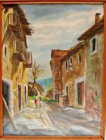 Dorfstrasse mit Personen Aquarell Italien Italia 1950/60 signiert