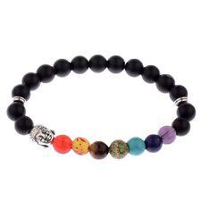 Men's 8MM Matte Stone Silver Buddha head Bracelets Charm  7 Chakra Bracelets
