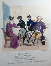 HUMOUR CARICATURE A. de VALMONT Lithographie Les trois rivaux Histoire d'une com