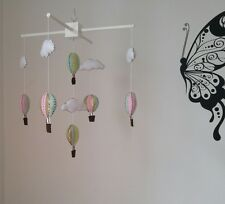 Handmade Nursery mobile- you can choose the colour of the wooden hanger