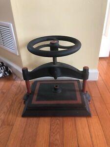 Antique Cast Iron Book Press # 3 Wheel Library Screw 11.5 x 15 inches