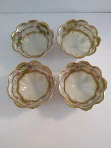 Set of 4 Nagoya SNB Nippon footed hand painted gilded bowls salt cellars