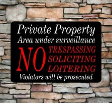 "Private Property No Soliciting No Trespassing Video Surveillance Sign 8""x12"" New"
