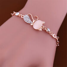 2017 Cute Cat Rose Gold Chain Charm Crystal Rhinestone Bangle Bracelet