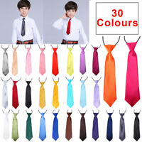 Classic Satin Elastic Neck Tie for Wedding Prom Boys Children School Kids Tie