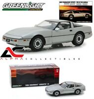 GREENLIGHT 13534 1:18 1984 CHEVROLET CORVETTE C4 SILVER METALLIC AD CAR