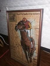 Drawing of Kent D. & Best Pal on racing form 1992  winning Santa Anita Handicap.