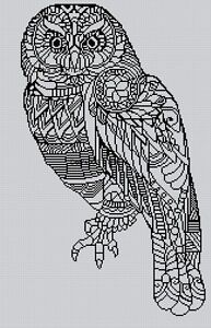 Blackwork Owl #17 Cross Stitch Chart