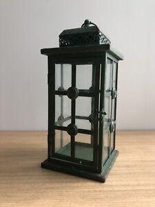 Green Vintage Inspired Metal Glass Lantern Candle Holder