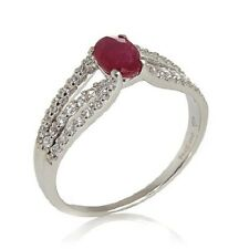 VICTORIA WIECK 0.83CT RUBY AND WHITE ZIRCON 14K WHITE GOLD RING SIZE 6 HSN $499