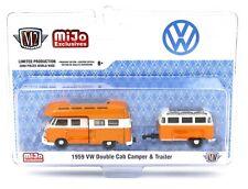 1:64 M2 Machines *MiJo* Orange & White 1959 VW Double Cab Camper & Trailer *NIP*