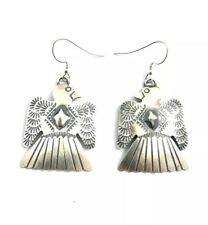 Native American Sterling Silver Navajo Thunderbird Old Look  Earrings