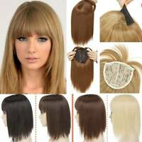Women Lady Hair Topper Real New One Piece Full Head Clip In Hair Extension Brown