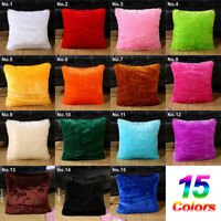 Sofa  Pillowcase Plush Square Pillow Case Furry Fluffy Cushion Cover Home Decor