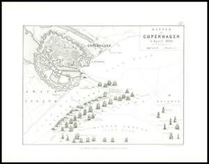 1852 Antique Map of BATTLE OF COPENHAGEN 2 April 1801 Battle Plans (AM32)