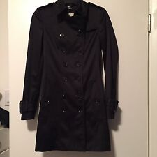 NWT Burberry London Double Breasted Black Trench Coat US 2 MISSING BELT