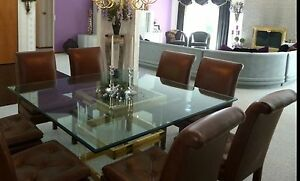 9 Piece Dining Room Furniture Glass/Brass Table & 8 Brown Leather Chairs
