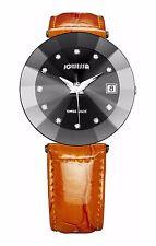 Jowissa Women's J5.257.XL Crystal Star Cut Black Dial Date Orange Leather Watch