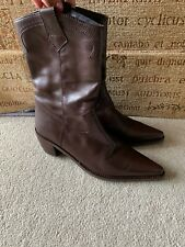VELETTO BROWN LEATHER COWBOY STYLE BOOTS SIZE UK 6 EUR 39 IN MINT CONDITION