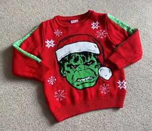 Marvel Hulk Christmas Jumper 3-4 Years Xmas
