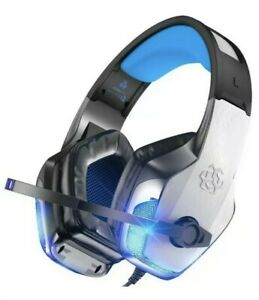 Gaming Headset Noise Cancelling Mic Over Ear Headphones BENGOO V-4 color : Blue